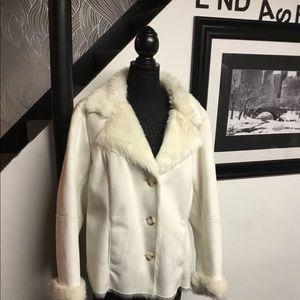 Lands End. Suede & fur coat xl must see,,,,
